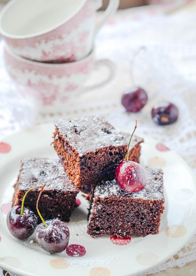 black forest brownies with cherry conserve