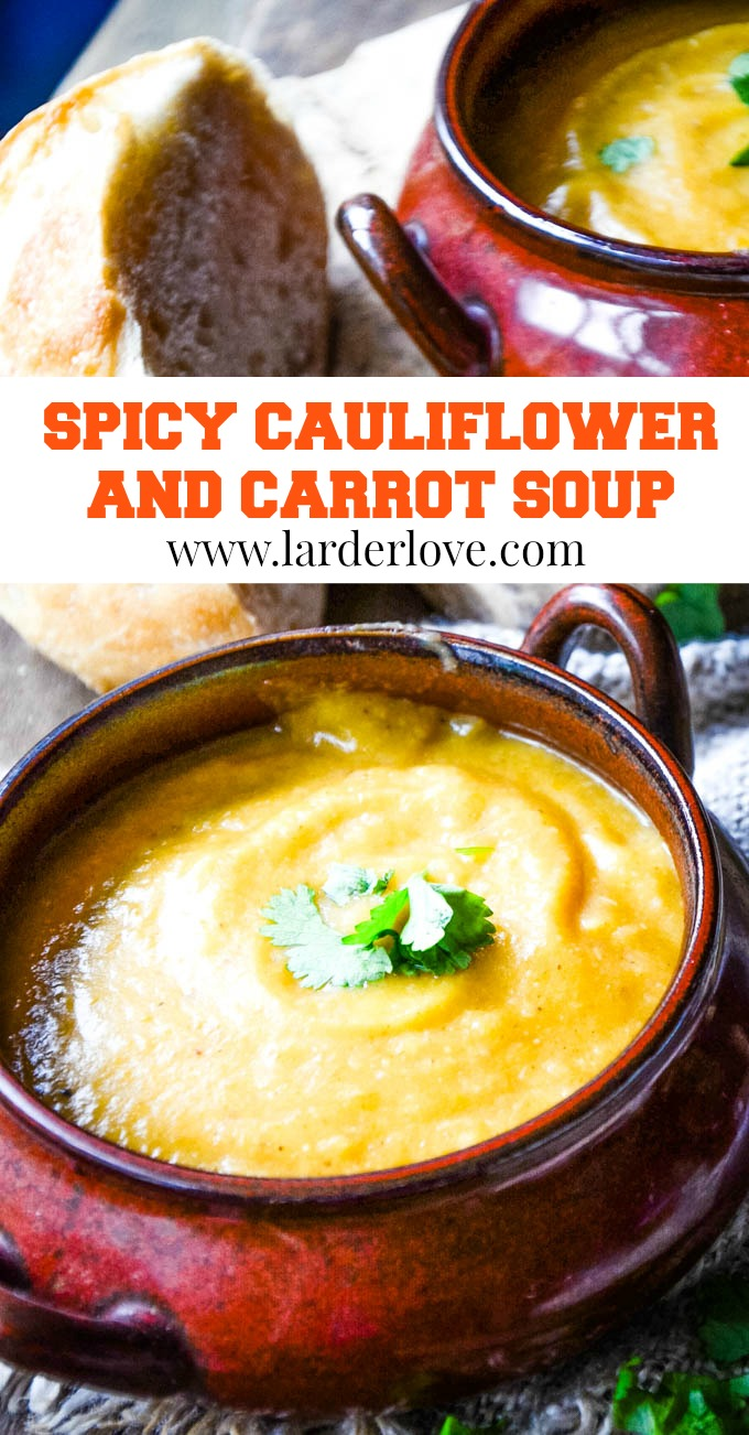 spicy cauliflower and carrot soup pin image