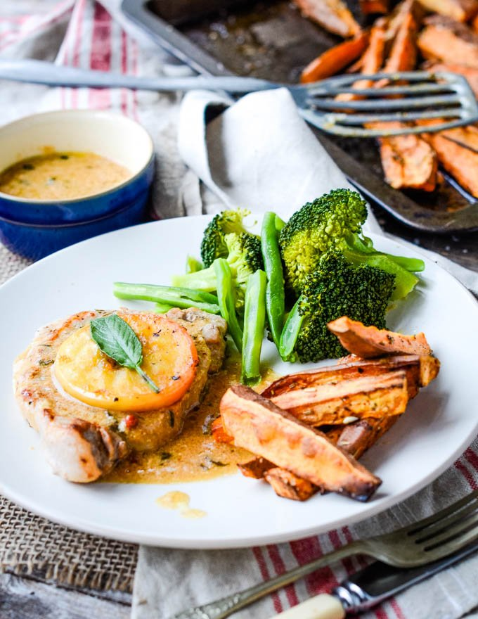 pork chops with apple and sage