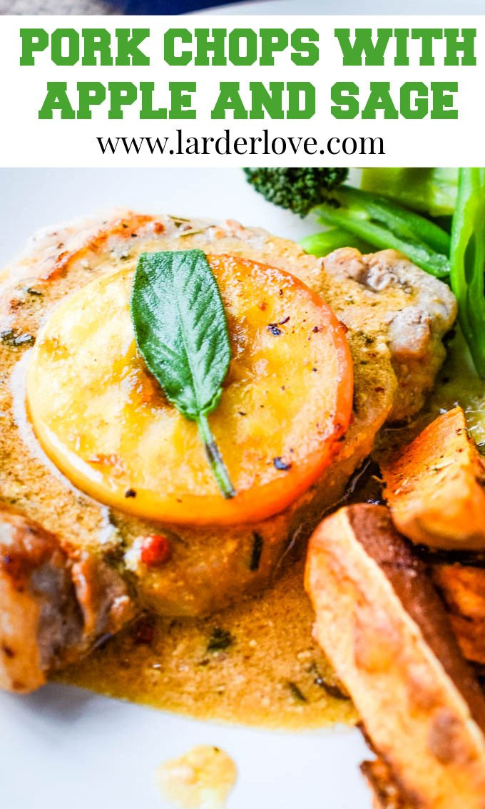 pork chops with apple and sage pin image