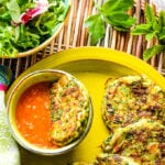 courgette (zucchini) fritters with tomato dipping sauce