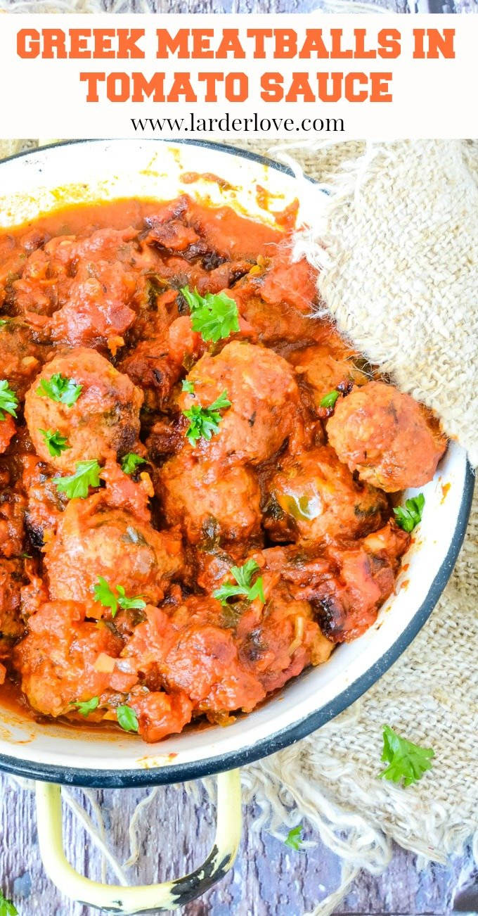 Greek soutzoukakia baked meatballs in tomato sauce is a classic comfort food dish packed with aromatic flavours in the rich tomato sauce and the meatballs are tender and juicy. #Greek meatballs #soutzoukakia #Greek recipes #Larder Love