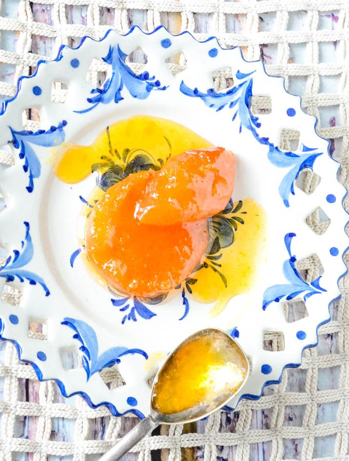 blue pattern plate with jam