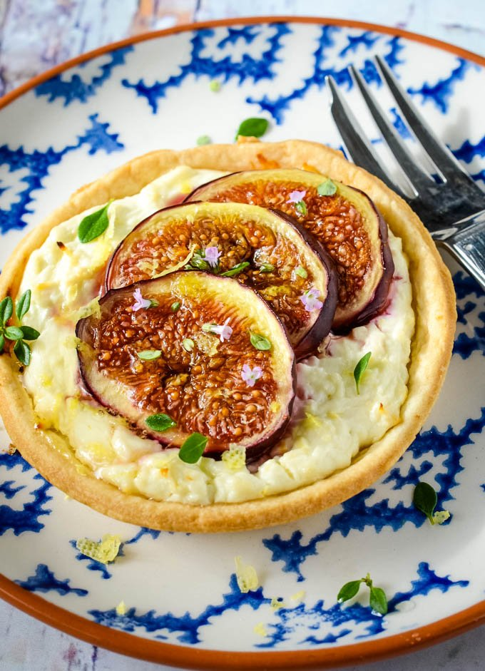 Greek fig and feta tarts with thyme and honey
