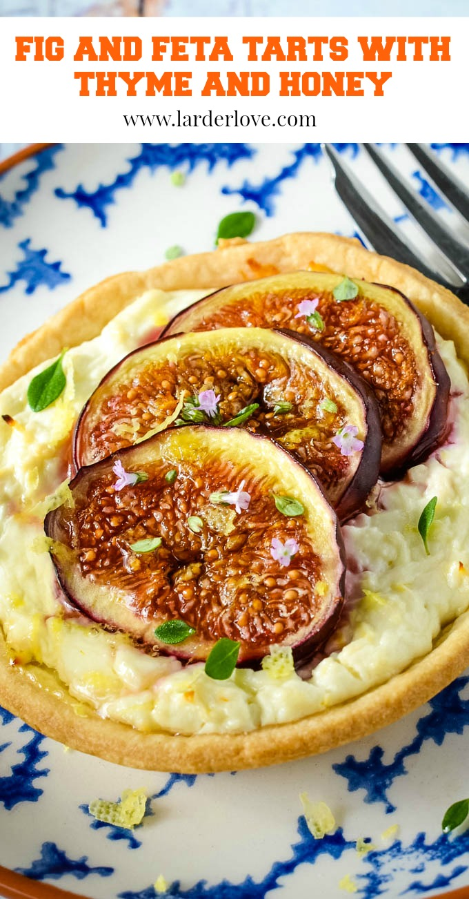 Greek fig and feta tarts with thyme and honey are one of my simple Greek recipes for cakes and bakes. Perfect for picnics, tea time or as a dessert too. #figs #feta #tarts #larderlove