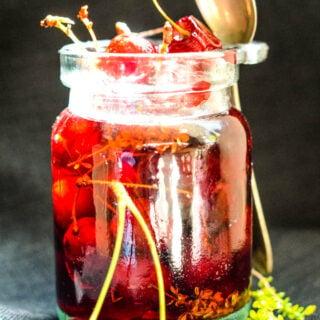 savoury spanish pickled cherries
