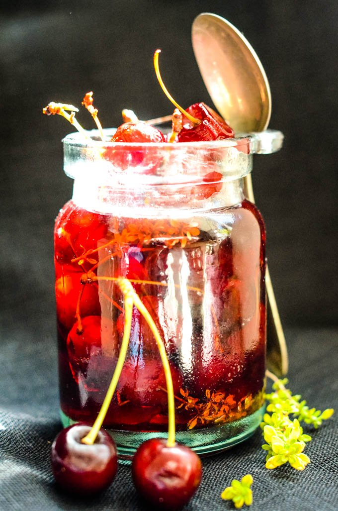 savoury spanish pickled cherries