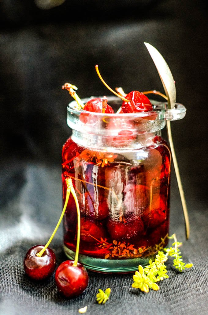 jar of pickled cherries