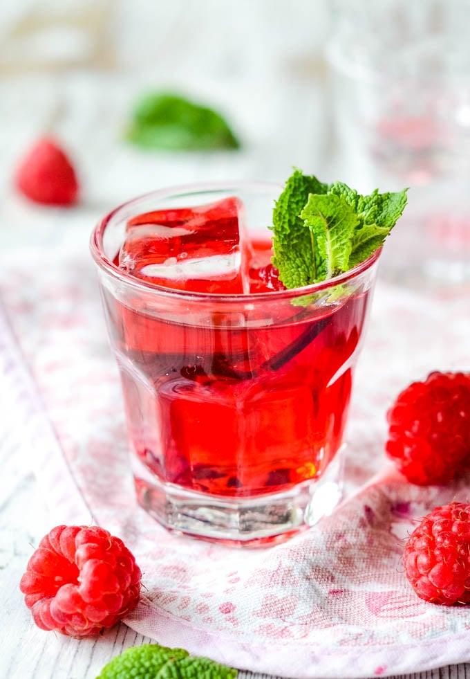 super easy raspberry and mint vodka