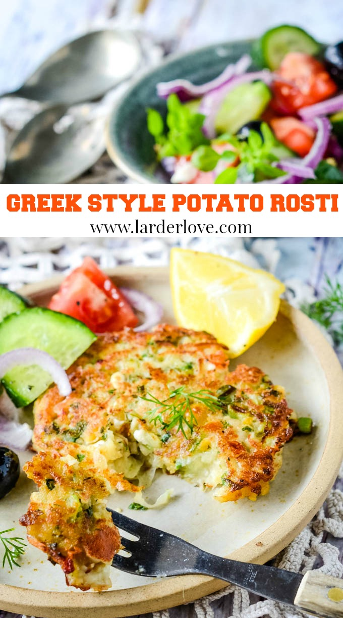 Quick and easy Greek style potato rosti/fritters, packed with flavour they make the perfect light lunch, add smoked salmon and salad for a filling meal or serve as part of brunch or breakfast too. #potato rosti #Greek food #potato fritters #larderlove