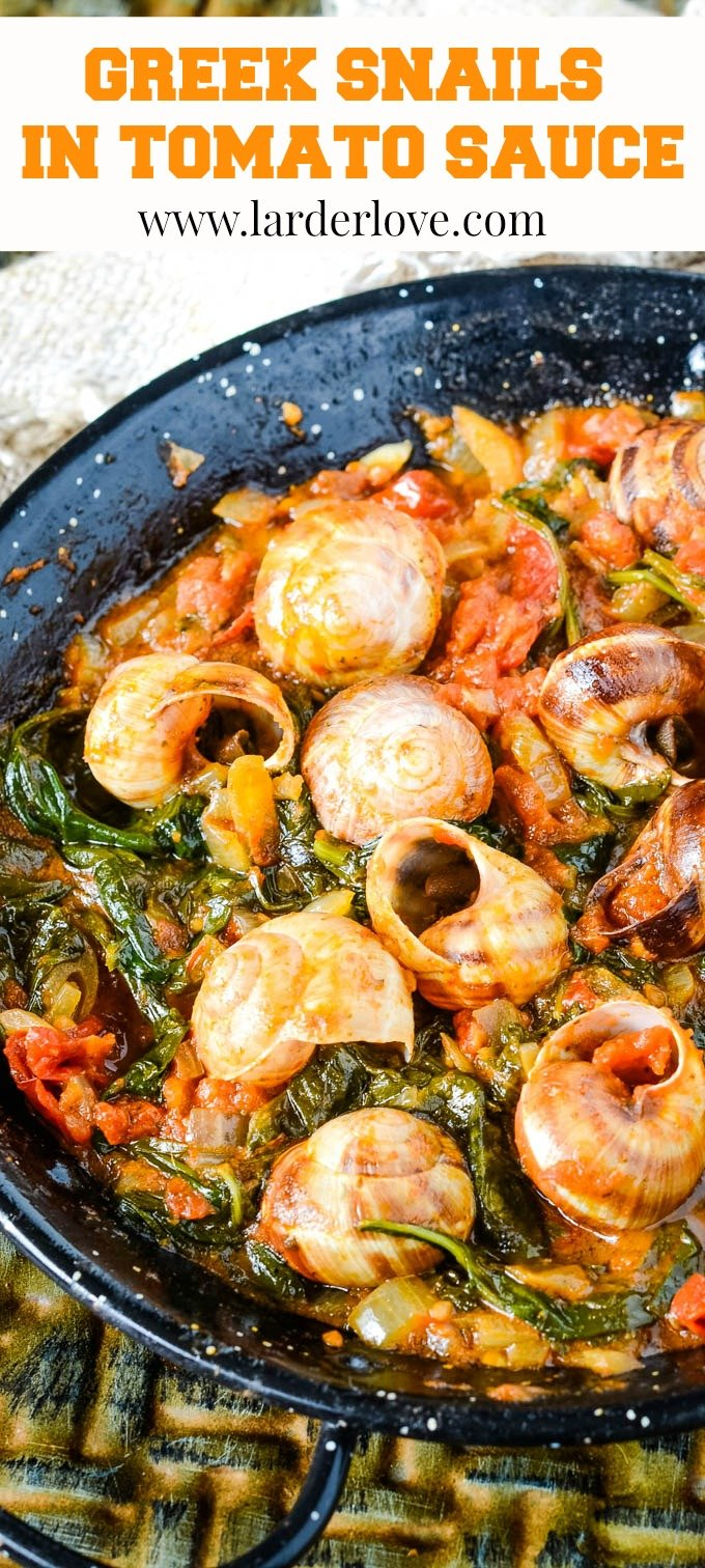 Greek snails in tomato sauce pin image