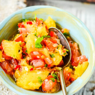 pineapple salsa in blue bowl
