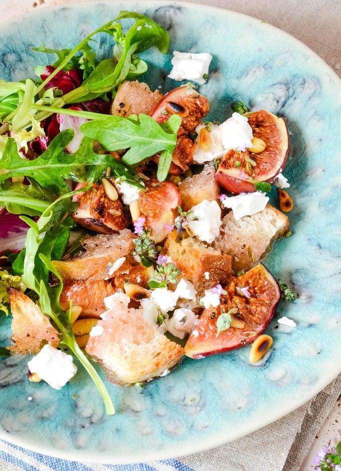 fig and feta salad close up of bowl
