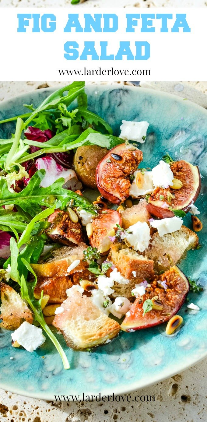 This fresh fig and feta salad with pine nuts recipe is so super easy to make. It has flavour and texture in abundance and is the true taste of summer sunshine, the perfect light lunch