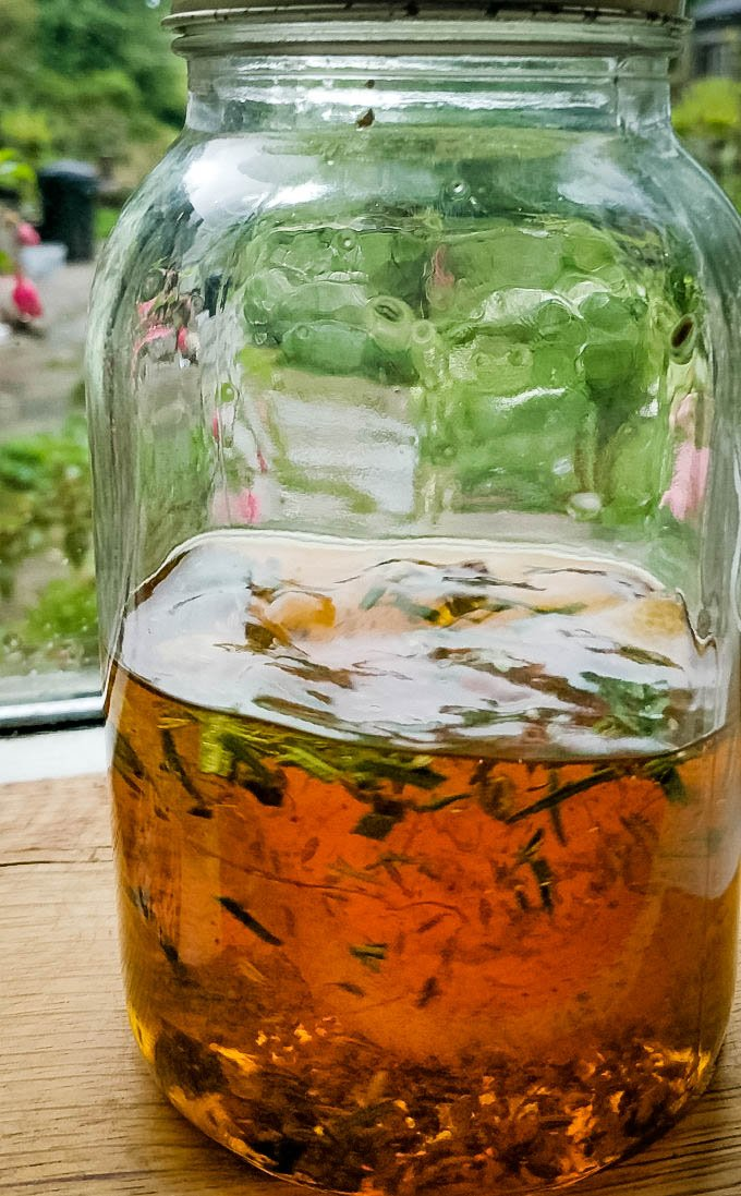 ingredients infusing in whisky jar