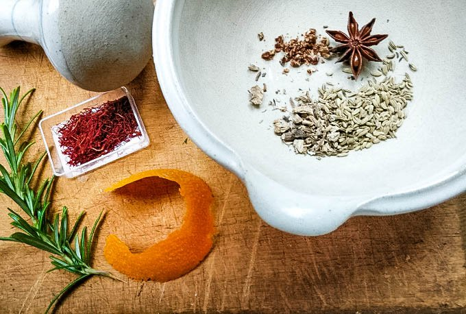 ingredients, spices and orange