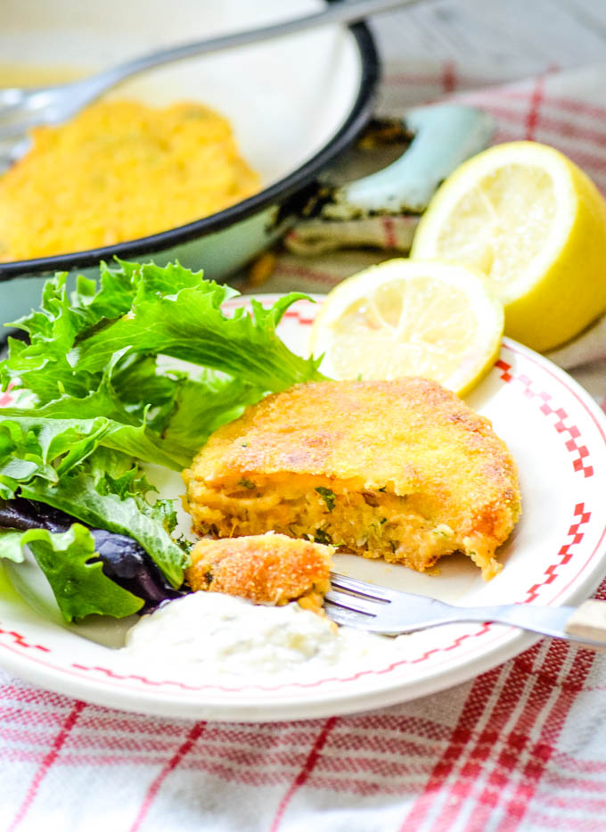 salmon fishcake with forkful taken out