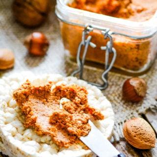 vegan mixed nut pate on cracker