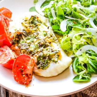 baked cod with gremolata sauce