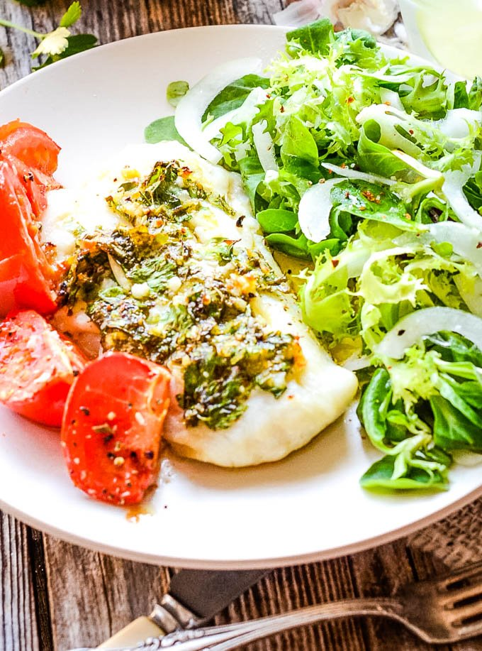 baked cod with gremolata sauce finished dish