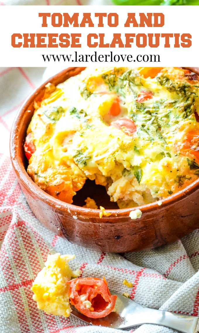 tomato and cheese clafoutis pin image