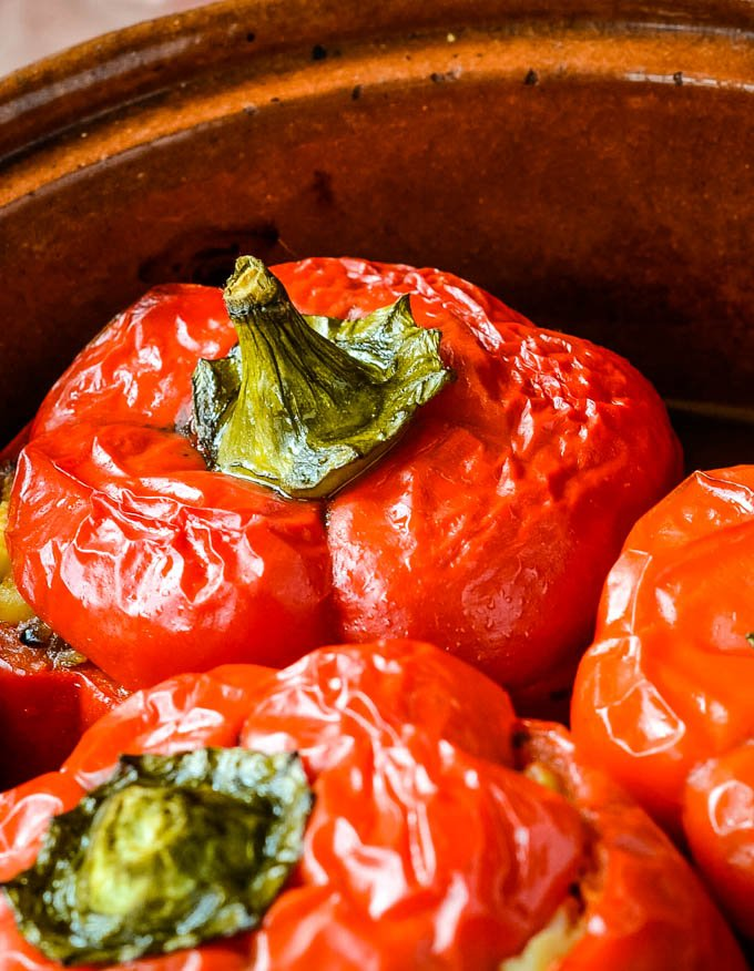 close up of cooking peppers