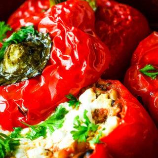 Greek style vegetarian stuffed peppers
