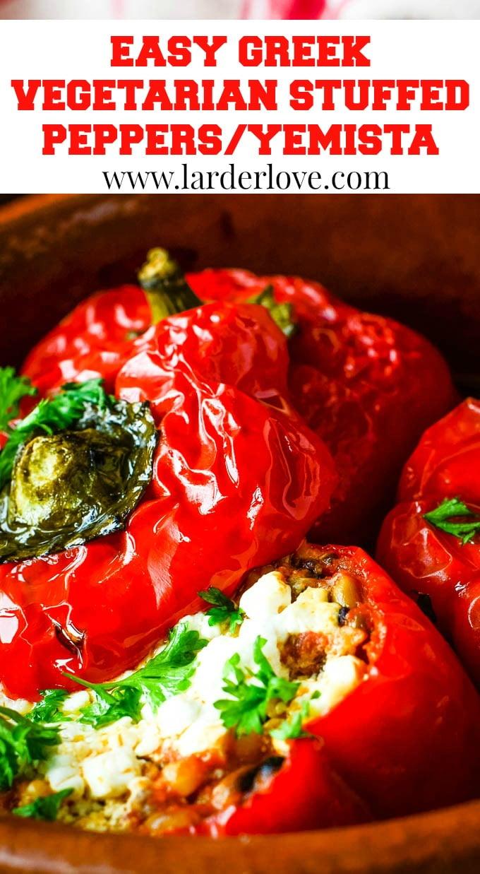 Greek stuffed peppers pin image