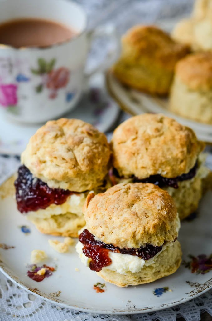 close up with cream and jam
