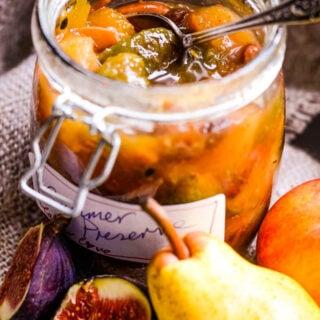 mixed fruit summer preserve jar with fruit larderlove.com