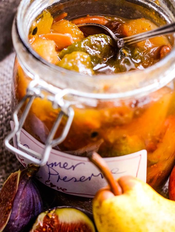 close up of jam in jar