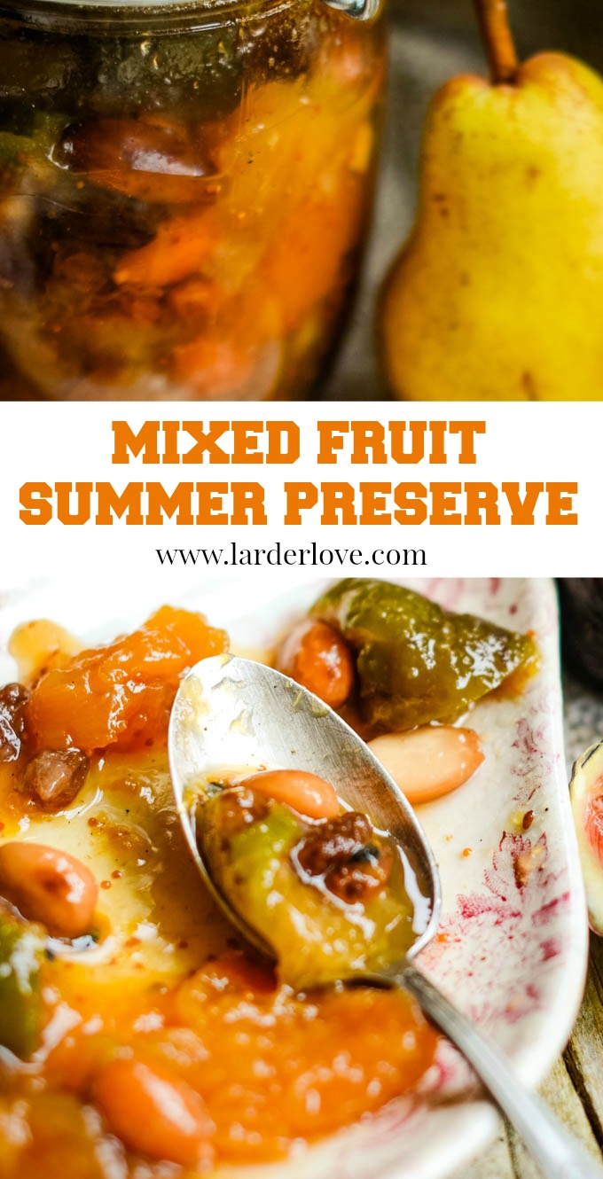 mixed fruit summer preserve with nuts pin image