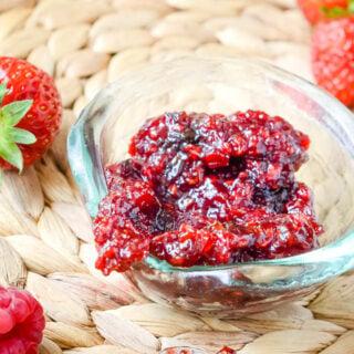 strawberry and raspberry relish by larderlove