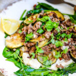 minced beef with courgettes and hummus by larderlove