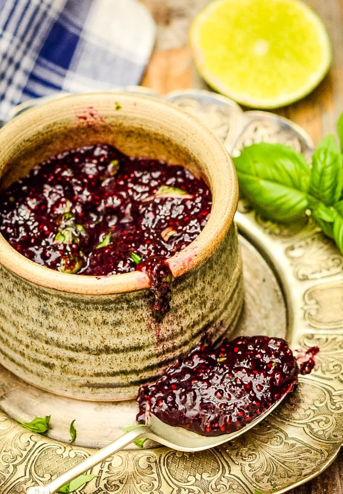 easy blueberry chia seed jam with lime and basil
