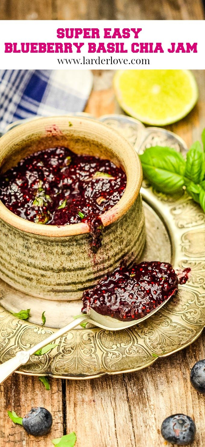 easy blueberry chia seed jam with lime and basil pin image