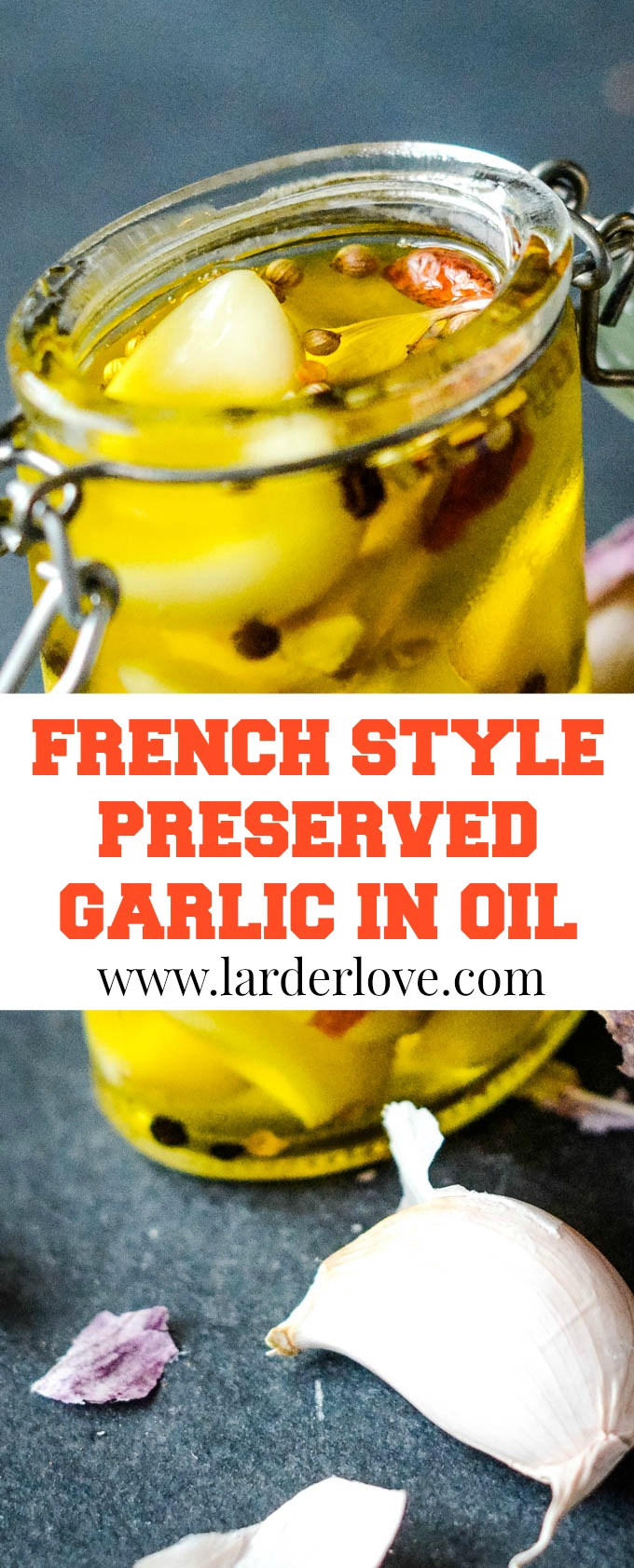 French style garlic preserved in oil pin image