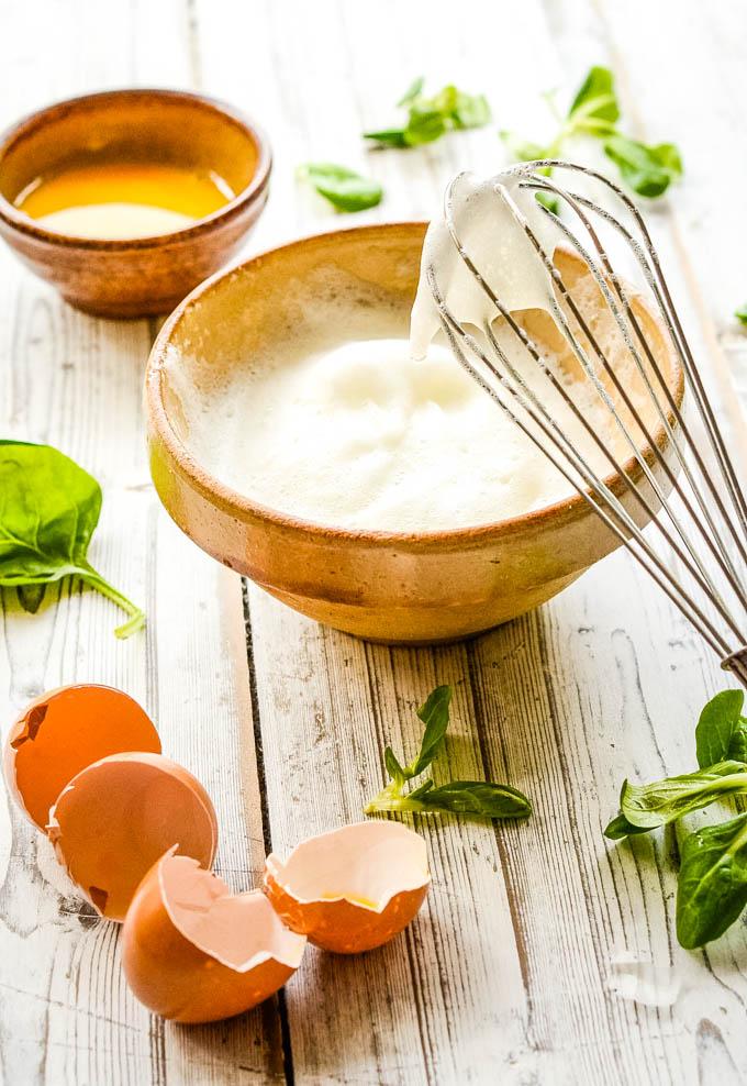 whisking egg whites for omelette