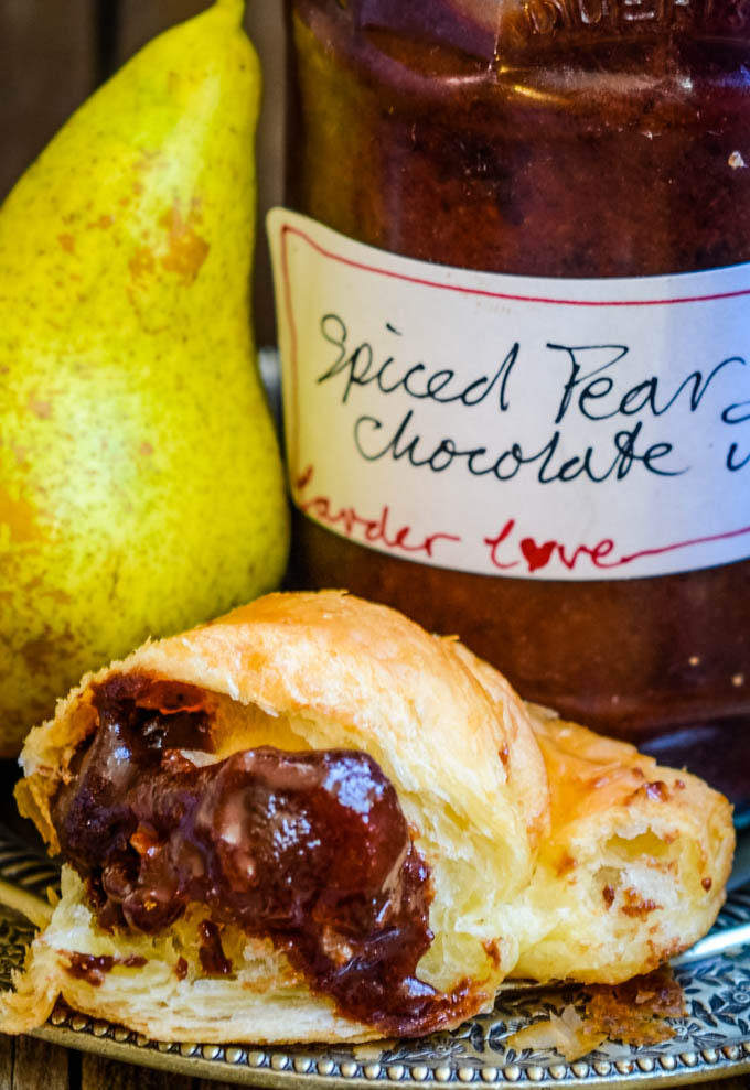 spiced pear and chocolate jam