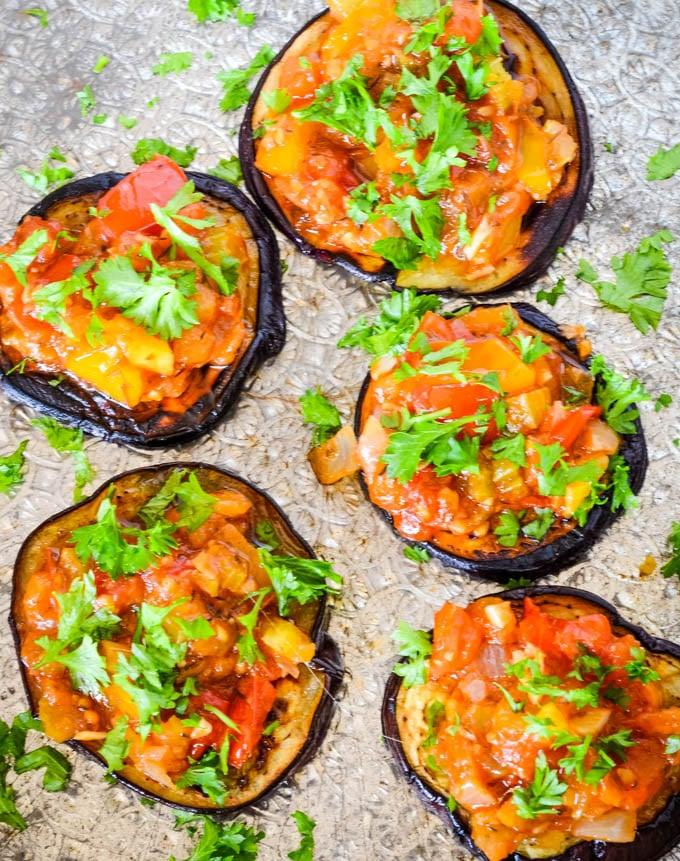 aubergine mini pizzas