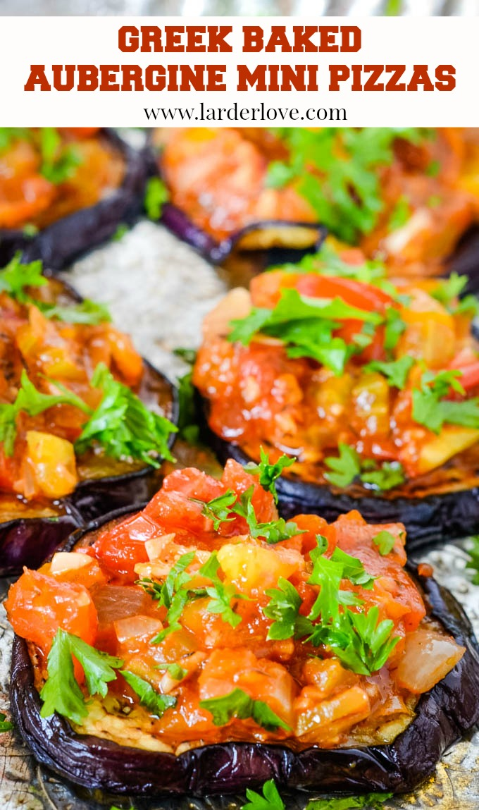 Greek baked aubergine/eggplant mini pizzas