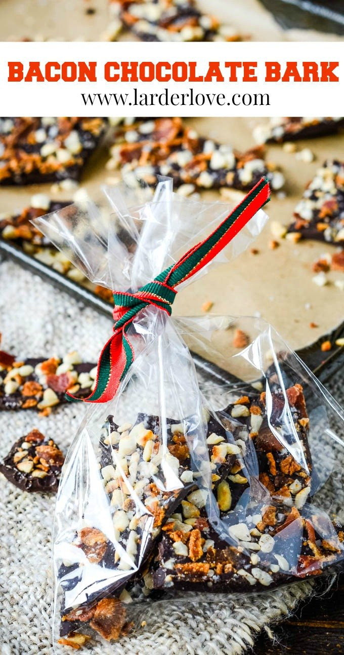 sweet and savoury bacon chocolate bark pin image