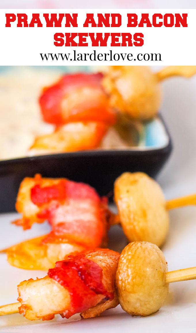 prawn and bacon skewers pin image