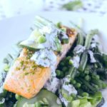 seared salmon with minted greens by larderlove