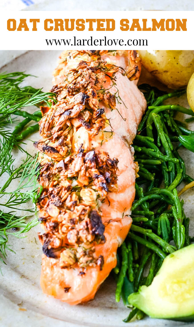 oat crusted baked salmon pin image