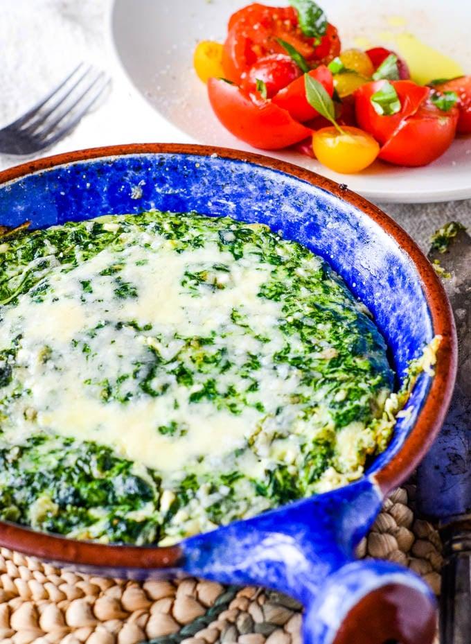 spinach frittata in baking dish