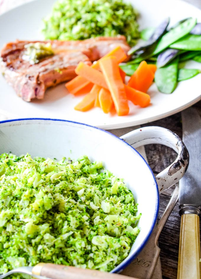 broccoli rice with the chops in background
