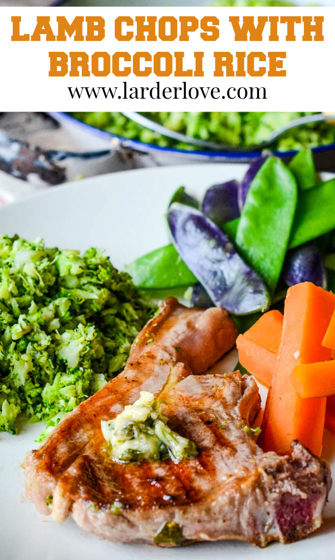 lamb chops with broccoli rice pin image