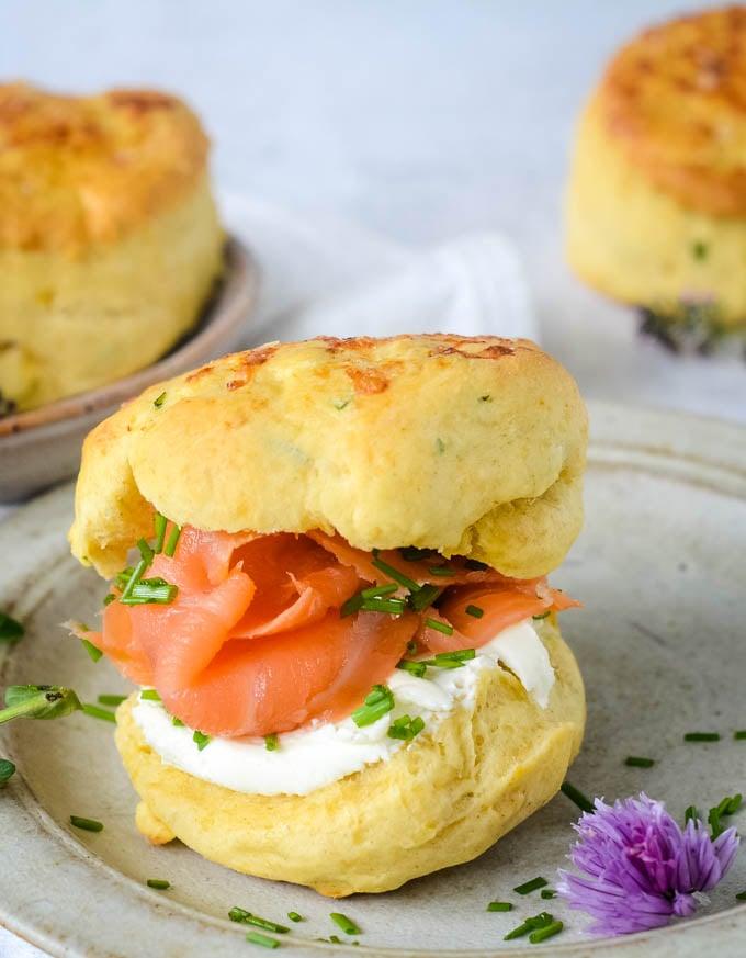 savoury cheese scones with smoked salmon