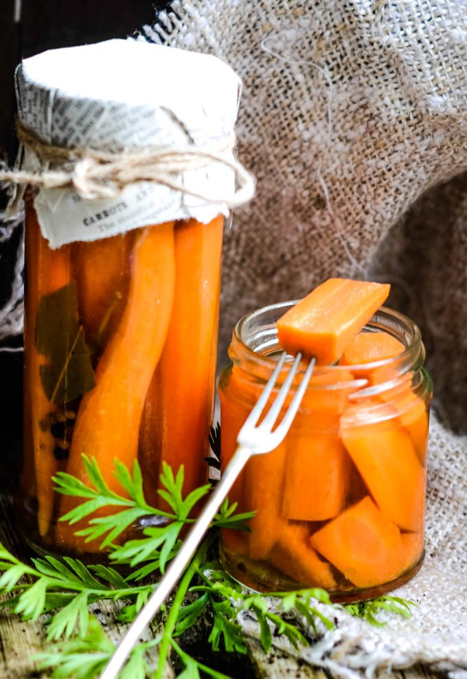pickled carrot on fork